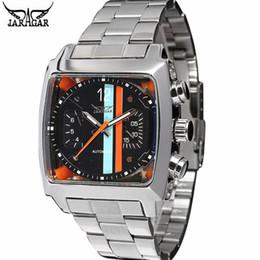 Женские часы jaragar онлайн-JARAGAR нержавеющей стали квадратный прозрачный чехол назад высокое качество авто движение мужские механические часы мужские наручные часы Relogio