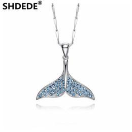 2019 golfinho colares prata SHDEDE Sereia espuma peixe cauda Colar Dolphin Colar S925 Sterling Silver Pingente vestido de festa acessórios golfinho colares prata barato