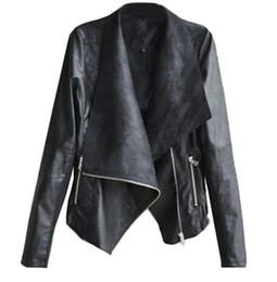plus size pu motorcycle jacket Australia - Casual PU Leather Jacket Women Classic Zipper Short Motorcycle Jackets Lady Autumn Soft Leather Basic Coat Black Plus Size New