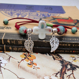 Wholesale Porcelain Cross - Ceramic Bracelet Retro Chinese Style Hand-woven National Style Cross Leaves Tibetan Silver Bead DIY Creative Fashion Gift Jewelry Wholesale
