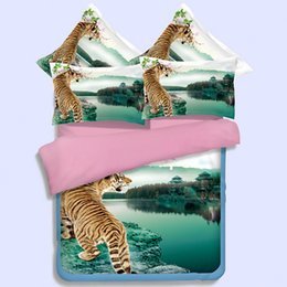 Wholesale Girls Tiger Sets - wild animal tiger duvet cover king queen twin full sizes fnatasy green bedding sets 3 4pcs woven bed in a bag girls boys teens