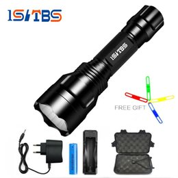 Taschenlampe c8 t6 online-Led taschenlampe xml-t6 8000lm c8 taktische led taschenlampe aluminium jagd taschenlampe lampe + 18650 + ladegerät