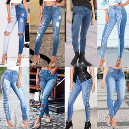 Wholesale Hole Ladies Jeans - Multi Style Women Skinny Ripped Hole Casual Slim Fit Skinny Stretch Trousers Leggings Ladies Jeans Boyfriend Pant Mid-waist Hot Sale