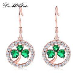 2020 сердце формы длинные серьги Double Fair Dangle Long Earrings For Women Classic Heart Shaped Clover Pattern Hollow Round Piercing Jewelry DFE016M дешево сердце формы длинные серьги