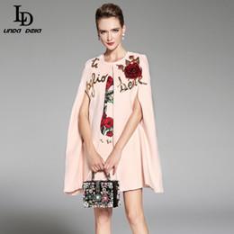 Wholesale Warm Elegant Wool Coats - Wholesale-LD LINDA DELLA 2017 Women Winter Cloak Wool Coats Warm Elegant Rose Floral Flowers Appliques Sequin Cashmere Coat Outwear