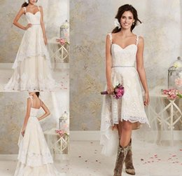 Wholesale apple beach - 2018 New Sexy Two Pieces Wedding Dresses Spaghetti Lace A Line Bridal Gowns With Hi-Lo Short Detachable Skirt Country Bohemian Wedding Gown