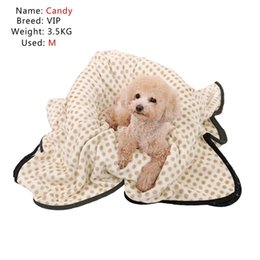 Wholesale large oval dog beds - Pet Blaket For Dog Cat Dot Pattern Warm Winter Soft Coral Velvet No Pilling Towel Puppy Pillow Sleeping Bed Cushion Pet Product