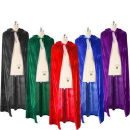 Ropa de vampiro online-Poliéster Halloween Devil Death Vampire Cloak Family Costume Red Black Shiny Cosplay Gown Robe Wicca Joker Ropa Mujer para adolescentes