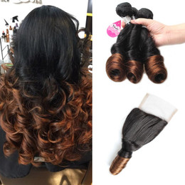 Wholesale Spring Curls - Mink Ombre Brazilian Ombre Spring Curl Hair Bundles 10A 2 Tone Ombre Virgin Human Hair Spring Curl with Free Part Lace Closure