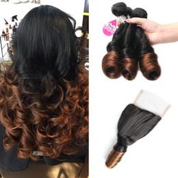 Wholesale Spring Curls Human Hair - Mink Ombre Brazilian Ombre Spring Curl Hair Bundles 10A 2 Tone Ombre Virgin Human Hair Spring Curl with Free Part Lace Closure
