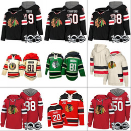 Chandail de hockey à capuche en Ligne-Chicago Blackhawks Hoodies 100e Patch 15 Artem Anisimov 19 Jonathan Toews 50 Corey Crawford 88 Patrick Kane Chandails à capuchon Chandails