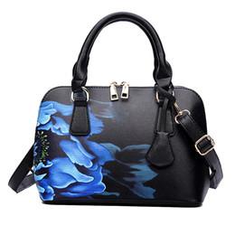 Impresión floral de los bolsos negros online-FangNymph negro mujer bolsas de mano nuevas mujeres florales impresos moda bolsos de las señoras elegantes Crossbody bolsas de mensajero