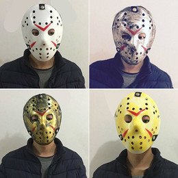 Wholesale Men Masquerade Masks Wholesale - Masquerade Masks For Adults Jason Voorhees Skull Mask Paintball 13th Horror Movie Mask Scary Halloween Costume Cosplay Festival Party Mask