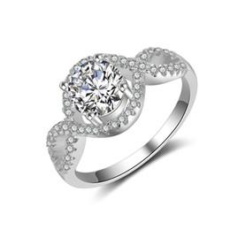 Usa 925 anelli d'argento online-ANELLO Matrimonio USA da donna in argento 925 con anelli di diamanti CZ regalo di fidanzamento per ragazze