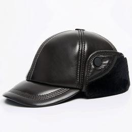 veri cappelli russi invernali Sconti Berretto invernale super caldo berretto invernale da uomo in vera pelle berretto da uomo marrone nero 100% pelle di pecora earflap berretto peloso