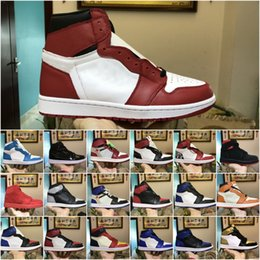 Wholesale best green designs - 2018 mens 1 OG Best Basketball Shoes New Design Black Red Khaki Brown orange AAA Quality Discount Mandarin duck Trainers Sneakers