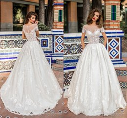 Wholesale Pocket Model - 2018 Ivory Country Elegant A Line Satin Wedding Dresses Sheer Neck Short Sleeves Illusion Bodices Full Lace Bridal Gowns with Pockets