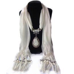 Wholesale Wholesale Rhinestone Necklace Scarf - Woman's Long Resin Little Rhinestone Pendant Shawl Scarf Necklace Scarf with Pendant