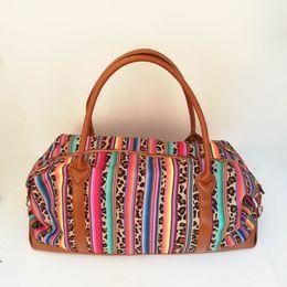 a40a9e4c68 Serape Leopard Duffle Bag Wholesale Blanks Color Stripe Weekender Totes  Canvas Travel Bag with Shoulder Strap DOM1061096