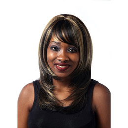 Wholesale Shoulder Length Wigs - Synthetic Wigs Straight Dark Brown Highlights On Hair Heat Resistant Synthetic Middle Part Shoulder Length Womens Wigs With Bang