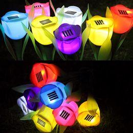 2019 fiori artificiali per esterni Lampada a energia solare Tulipano artificiale Fiore Landscape Garden Outdoor LED Fiori leggeri per la decorazione della festa nuziale fiori artificiali per esterni economici