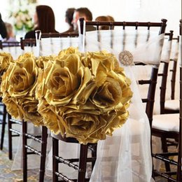 Wholesale Flower Balls For Centerpieces - OurWarm 10Pcs 14CM Wedding Flowers Ball Gold Silk Rose Kiss Ball for Wedding Decoration Centerpieces Festive Party Supplies