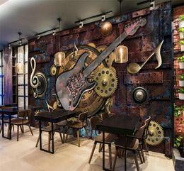 Guitarra de bar online-Custom Mural Wallpaper Wall Covering Retro Metal Gears Notas Musicales Guitar Bar KTV Imagen de Fondo Decoración Pintura Mural