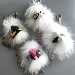 """Wholesale Large Spikes - 18cm 7"""" White Series Large soft Real Fur Monster Bag Bug Charm Real fur Pom Ball Charm Keychain toy"""