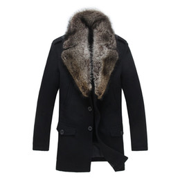 Wholesale Gray Wool Jacket High Collar - Wool Coat Men Winter Jackets Raccoon Fur Collar Long Overcoat Outwear Warm Thick Cashmere Plus Size 4XL 5XL 2018 High Quality