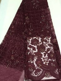 Wholesale Wholesale Net Evening Dresses - French Lace Fabrics Latest African Cord Lace With bead pearlEmbroidered Net Lace Fabric For Evening Dress