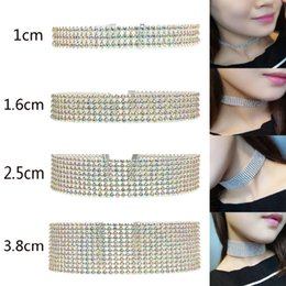 Wholesale Full Neck Necklaces - 4 Size Sparking Choker Full Rhinestones Trendy Wedding Party Prom Chokers Necklace Bride OL Neck Chain necklace Two-color