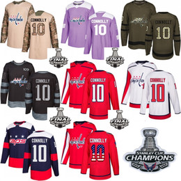 cdf1e3fcfc4 2018 Washington Capitals Stanley Cup Final patch champion patch  10 Brett  Connolly Red White USA Flag Fashion Purple Hockey Jerseys
