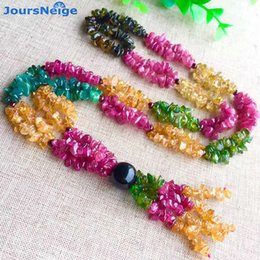 Wholesale Tourmaline Beads Necklace - whole saleJoursNeige Tourmaline Natural Stone Necklace Irregular Beads Sweater Chain Crystal Necklace Lucky for Women Gift Popular Jewelry