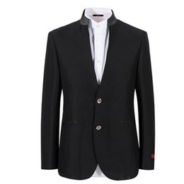 Wholesale White Buckle Jacket - men's suit jacket Business leisure groomsman wedding formal occasions suit jacket fashion two grain of buckle black
