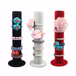 Wholesale Chain Bangle Holders - New Black Velvet Jewelry Display Storage Stand Bracelet Bangle Holder Watch Chain Cases