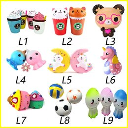 Wholesale cat squeeze - New Squishy Toy unicorn bear Ice cream Football seahorse acaleph burger cat squishies Slow Rising 10cm 15cm Soft Squeeze Cute gift kids t