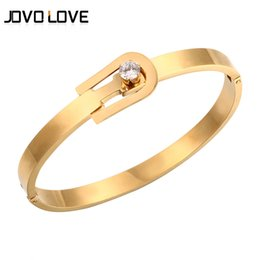 Wholesale three metal bracelet - whole saleJOVO Unique Clasp Design Crystal Bracelets & Bangle For Women Party Jewelry High Quality Cuff Bracelet with Three Metal Color