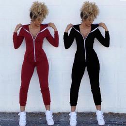 Wholesale Black Hooded Bodysuit - Women Suit Bodysuit Long Sleeve Cotton Solid Zipper Hooded Jumpsuits Long Pants Playsuit