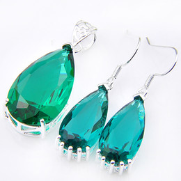 Wholesale mix silver jewerly - Mix 2Pieces 1 Set Classic Holiday Jewelry Fire Drop Green Quartz 925 Sterling Silver Pendants Dangle Earrings Jewerly Set Holiday Party Gift