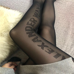 hose black white Promo Codes - Sexy Transparent Letter Pantyhose Black Rhinestone Letter Brand Design Silk Stockings Fashion New Women Black Panty-hose