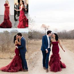 Canada Bourgogne robes de mariée sirène vin rouge sans bretelles dos nu longues robes de soirée de mariage, plus la taille robes de fête Offre