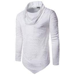 Top punk rock en Ligne-Nibesser T-Shirt Hommes Col Roulé Manches Longues Trou Trou Blanc Haut Tee Hip Hop Punk Rock Tee Shirts Streetwear Noir Friday Z30