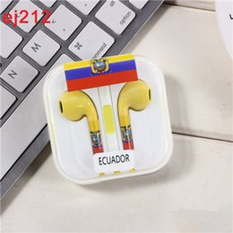 Wholesale earphone cup - 2018 For iPhone High quality P1 In-ear Headphones Straight-through World Cup Flag Headphone Cell Phone Earphones Support Wholesale DHL ship