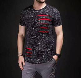 Canada Europe T American Fashion Print T-shirts pour hommes T-shirts T-shirts de luxe Designer manches courtes hommes encre déchiré détruire t-shirt Vêtements pour hommes Offre