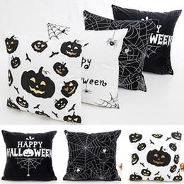 Подушка для пауков онлайн-Хэллоуин бронзовый наволочка тыква паук чехол чехол домашний диван автомобиль дома декоративные рождественские подарки не основной 45 * 45 см HH7-1511