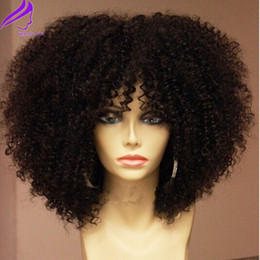 2019 perucas afro cheias de renda completa 180densidade cheia natural peruca dianteira do laço completo com franja cabelo sintético curto Afro Kinky Curly Perucas para As Mulheres Negras desconto perucas afro cheias de renda completa