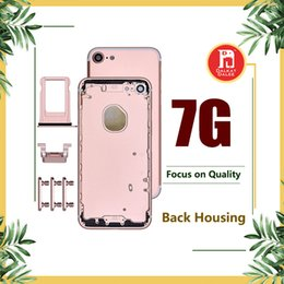 Wholesale Rear Cover Iphone - Back Housing Battery Cover Coque for iPhone 7 7G with LOGO & Buttons & Sim Tray +Custom IMEI Fundas Chassis Rear Door Middle Body Panel