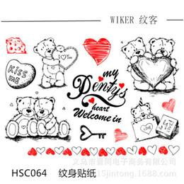 Wholesale Tattoo Sticker Love - 20pcs lot Free shipping HSC064 Little bear love waterproof tattoo stickers for body