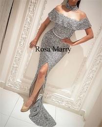 Deutschland Sparkly Sliver Pailletten Mermaid Abendkleider 2020 Yousef Aljasmi High Neck Front Split Günstige arabische Abendkleider Abendgarderobe Versorgung