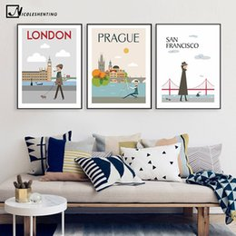 Wholesale wall poster new york - The Morning of City London New York Vintage Poster Landscape Art Canvas Painting Wall Picture Print Modern Home Room Decoration